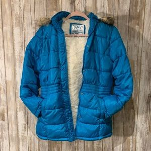 Justice girls plush puffer coat